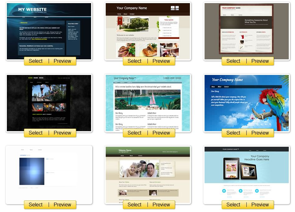 A great selection and variety of website designs and templates - WebStarts