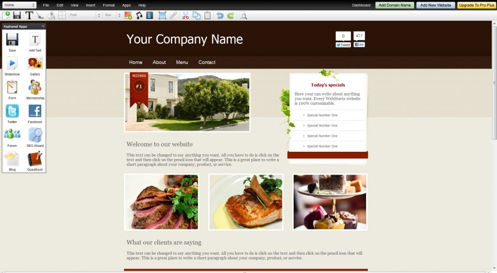 A well integrated website builder which allows for even great customizable websites - WebStarts