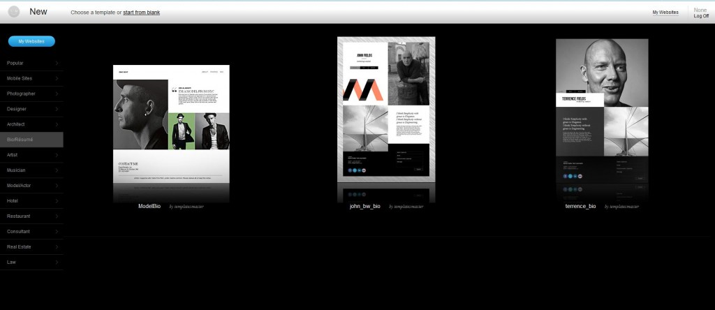 Lots of sleek templates allows you freedom of website design - IMCreator