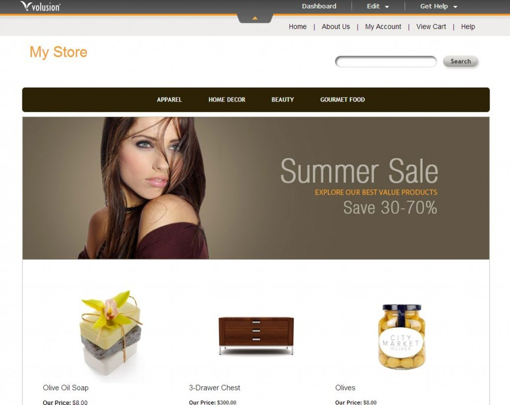 Simple but effective e-commerce websites - Volusion