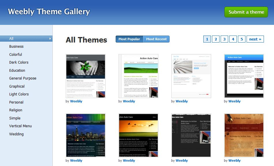 A gallery full of themed templates for quick website creation - Weebly
