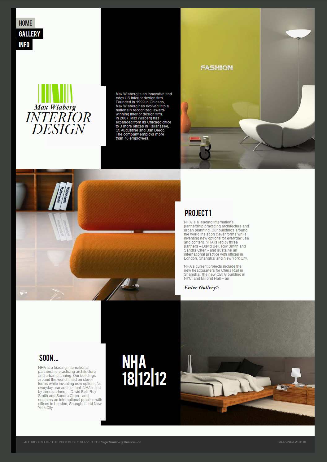 Interior design website template. Interior design website